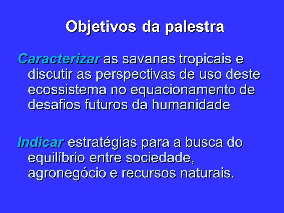 Objetivos da palestra Caracterizar as savanas tropicais e discutir as perspectivas de uso deste ecossistema no equacionamento de desafios futuros da h
