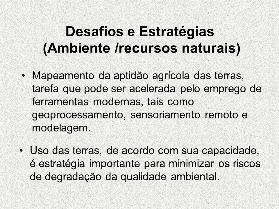 Desafios e Estratégias (Ambiente /recursos naturais) Mapeamento da aptidão agrícola das terras, tarefa que pode ser acelerada pelo emprego de ferramen