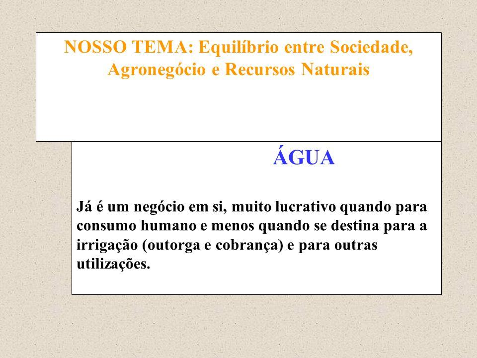 NOSSO TEMA: Equilíbrio entre Sociedade, Agronegócio e Recursos Naturais ÁGUA Já é um negócio em si, muito lucrativo quando para consumo humano e menos