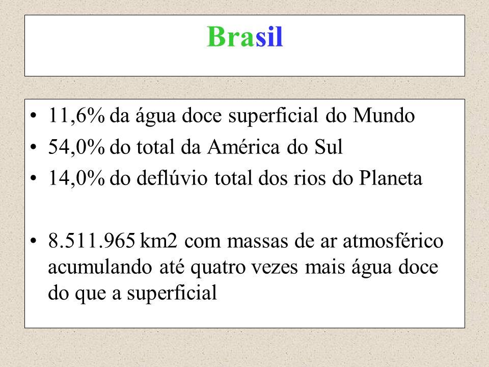 Brasil 11,6% da água doce superficial do Mundo 54,0% do total da América do Sul 14,0% do deflúvio total dos rios do Planeta 8.511.965 km2 com massas d