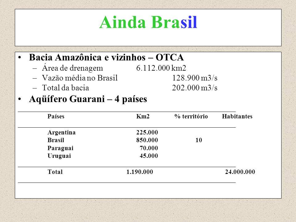 Ainda Brasil Bacia Amazônica e vizinhos – OTCA –Área de drenagem6.112.000 km2 –Vazão média no Brasil 128.900 m3/s –Total da bacia 202.000 m3/s Aqüífer