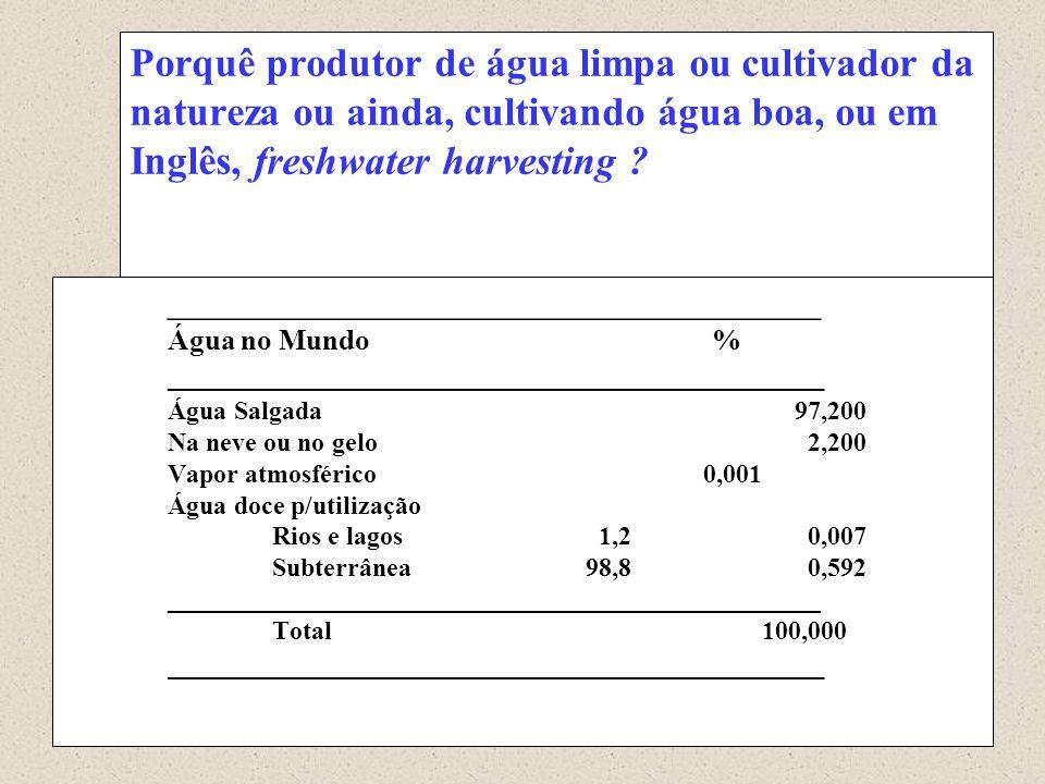 Porquê produtor de água limpa ou cultivador da natureza ou ainda, cultivando água boa, ou em Inglês, freshwater harvesting ? _________________________