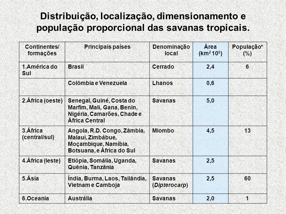 Continentes/ formações Principais paísesDenominação local Área (km 2 10 6 ) População* (%) 1.América do Sul BrasilCerrado2,46 Colômbia e VenezuelaLhan