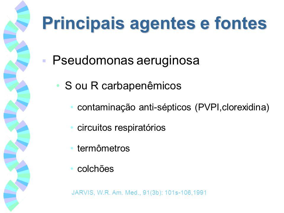 Principais agentes e fontes Pseudomonas aeruginosa S ou R carbapenêmicos contaminação anti-sépticos (PVPI,clorexidina) circuitos respiratórios termôme