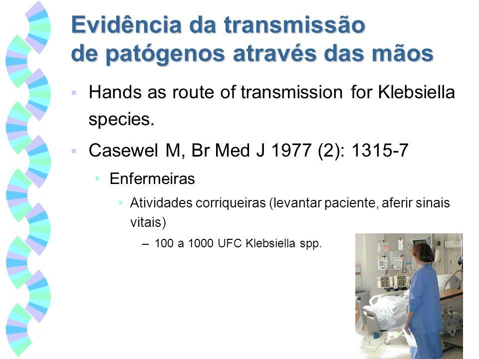 Evidência da transmissão de patógenos através das mãos Hands as route of transmission for Klebsiella species. Casewel M, Br Med J 1977 (2): 1315-7 Enf