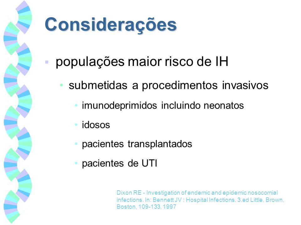 Considerações populações maior risco de IH submetidas a procedimentos invasivos imunodeprimidos incluindo neonatos idosos pacientes transplantados pac