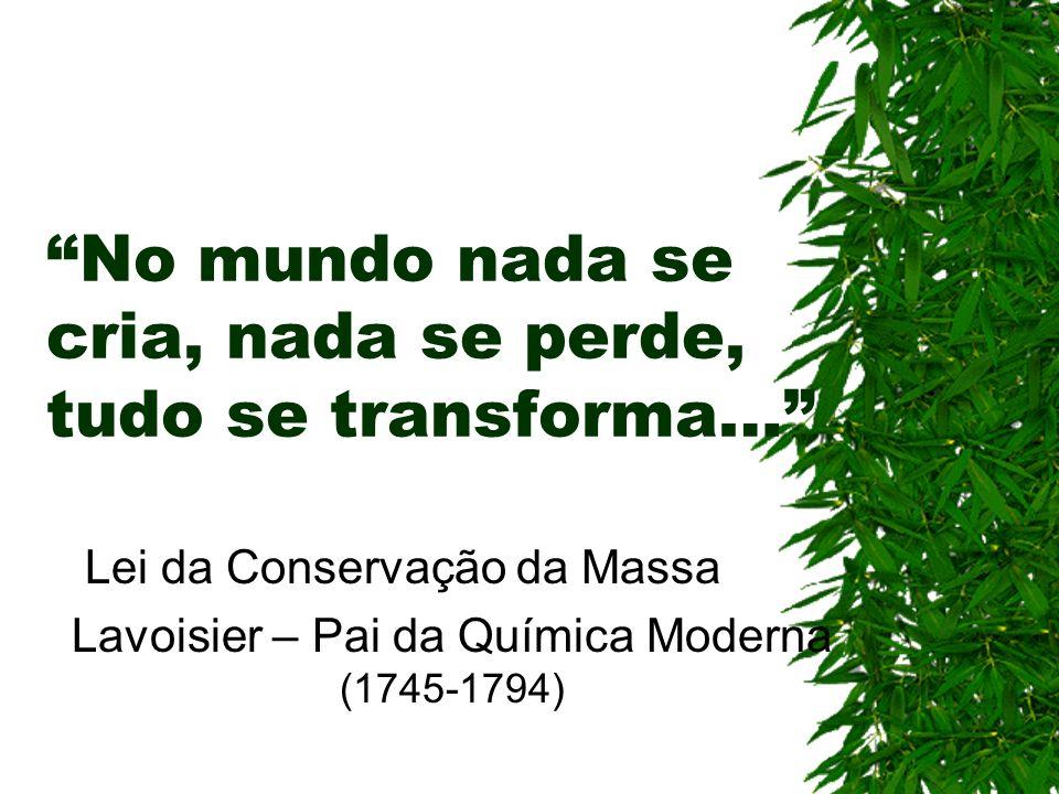 No mundo nada se cria, nada se perde, tudo se transforma… Lei da Conservação da Massa Lavoisier – Pai da Química Moderna (1745-1794)