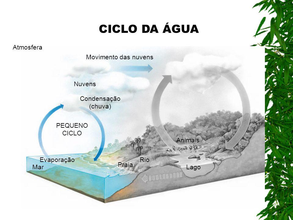Movimento das nuvens Atmosfera Evaporação Mar Praia Rio Lago Animais PEQUENO CICLO Condensação (chuva) Nuvens CICLO DA ÁGUA