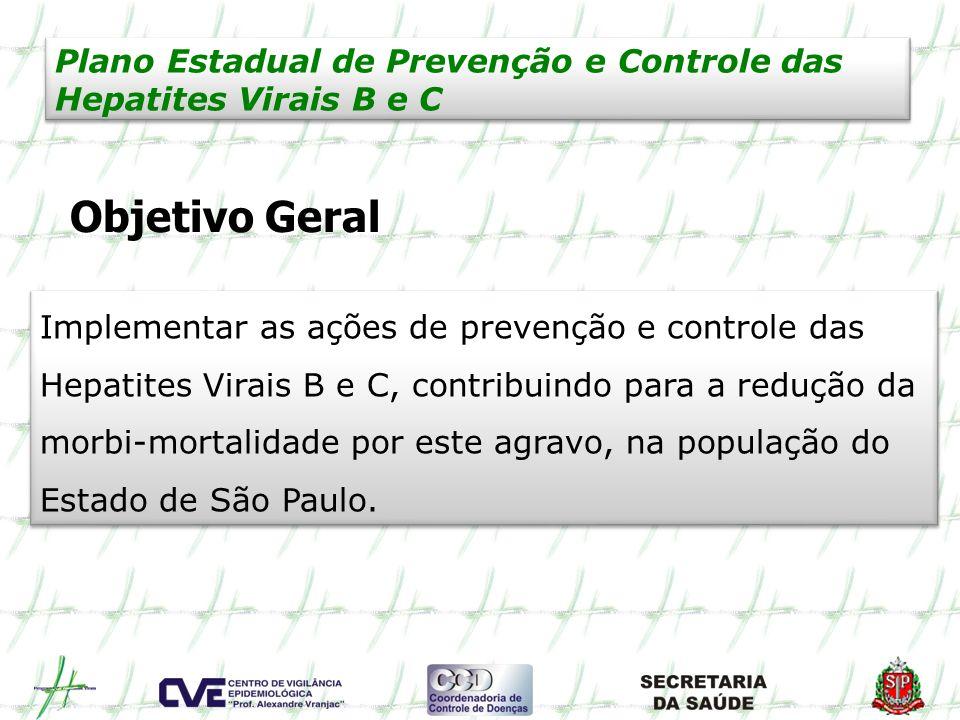 Plano Estadual de Prevenção e Controle das Hepatites Virais B e C Objetivo Geral Implementar as ações de prevenção e controle das Hepatites Virais B e