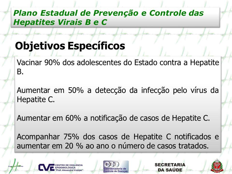 Plano Estadual de Prevenção e Controle das Hepatites Virais B e C Objetivos Específicos Vacinar 90% dos adolescentes do Estado contra a Hepatite B. Au