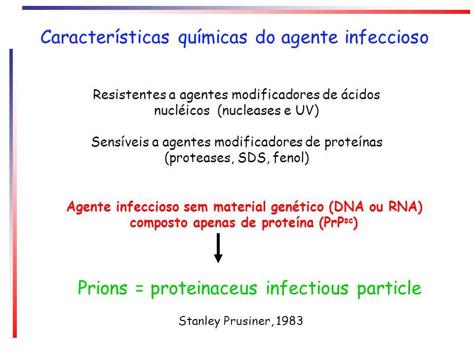Características químicas do agente infeccioso Resistentes a agentes modificadores de ácidos nucléicos (nucleases e UV) Sensíveis a agentes modificador