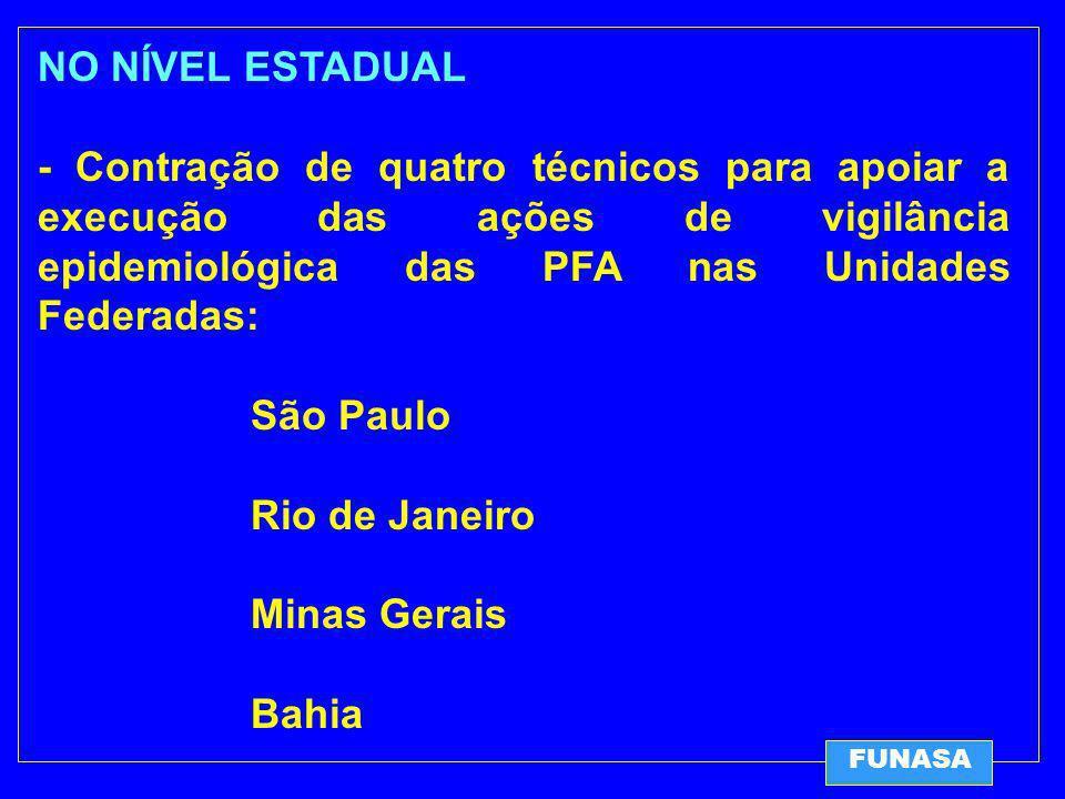 NO NÍVEL ESTADUAL - Contração de quatro técnicos para apoiar a execução das ações de vigilância epidemiológica das PFA nas Unidades Federadas: São Paulo Rio de Janeiro Minas Gerais Bahia FUNASA