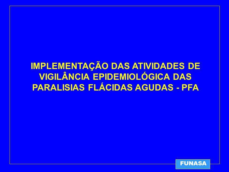 FUNASA IMPLEMENTAÇÃO DAS ATIVIDADES DE VIGILÂNCIA EPIDEMIOLÓGICA DAS PARALISIAS FLÁCIDAS AGUDAS - PFA