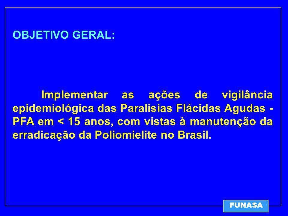 OBJETIVO GERAL: Implementar as ações de vigilância epidemiológica das Paralisias Flácidas Agudas - PFA em < 15 anos, com vistas à manutenção da erradicação da Poliomielite no Brasil.