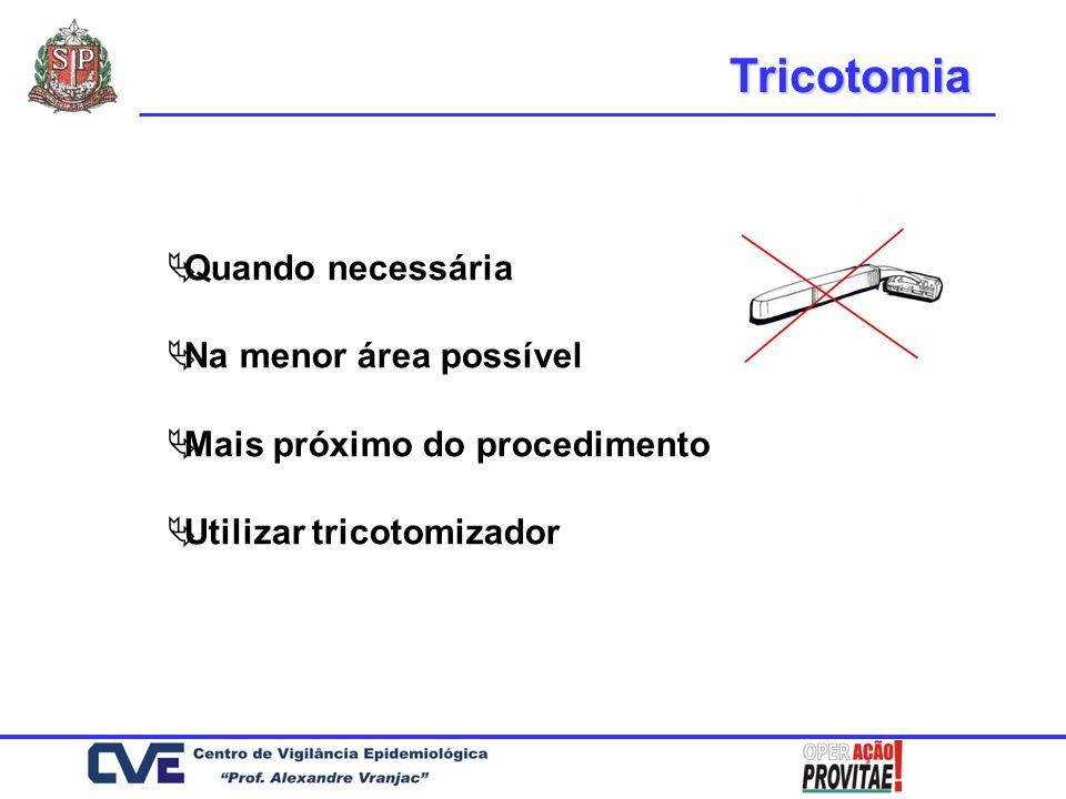 Tricotomia Quando necessária Na menor área possível Mais próximo do procedimento Utilizar tricotomizador