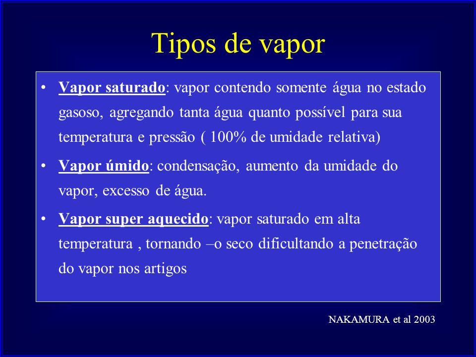 Tipos de vapor Vapor saturado: vapor contendo somente água no estado gasoso, agregando tanta água quanto possível para sua temperatura e pressão ( 100