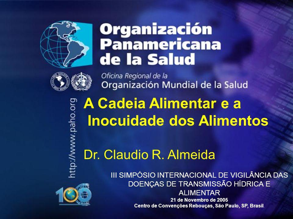 A Cadeia Alimentar e a Inocuidade dos Alimentos Dr. Claudio R. Almeida III SIMPÓSIO INTERNACIONAL DE VIGILÂNCIA DAS DOENÇAS DE TRANSMISSÃO HÍDRICA E A