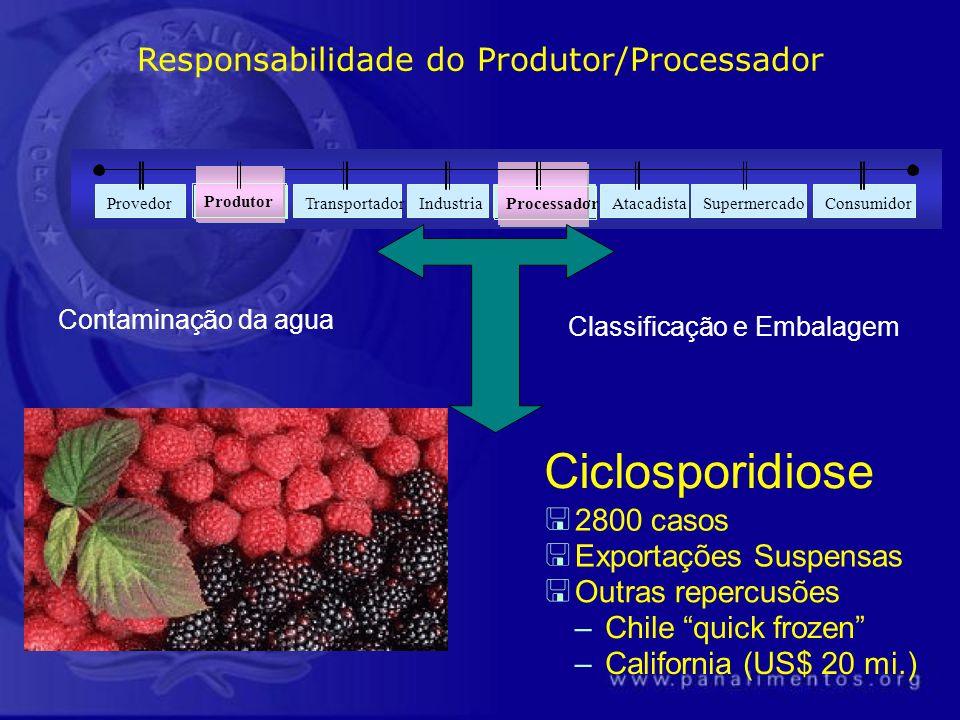 Produtor Processador Contaminação da agua Classificação e Embalagem Ciclosporidiose < 2800 casos < Exportações Suspensas < Outras repercusões –Chile q