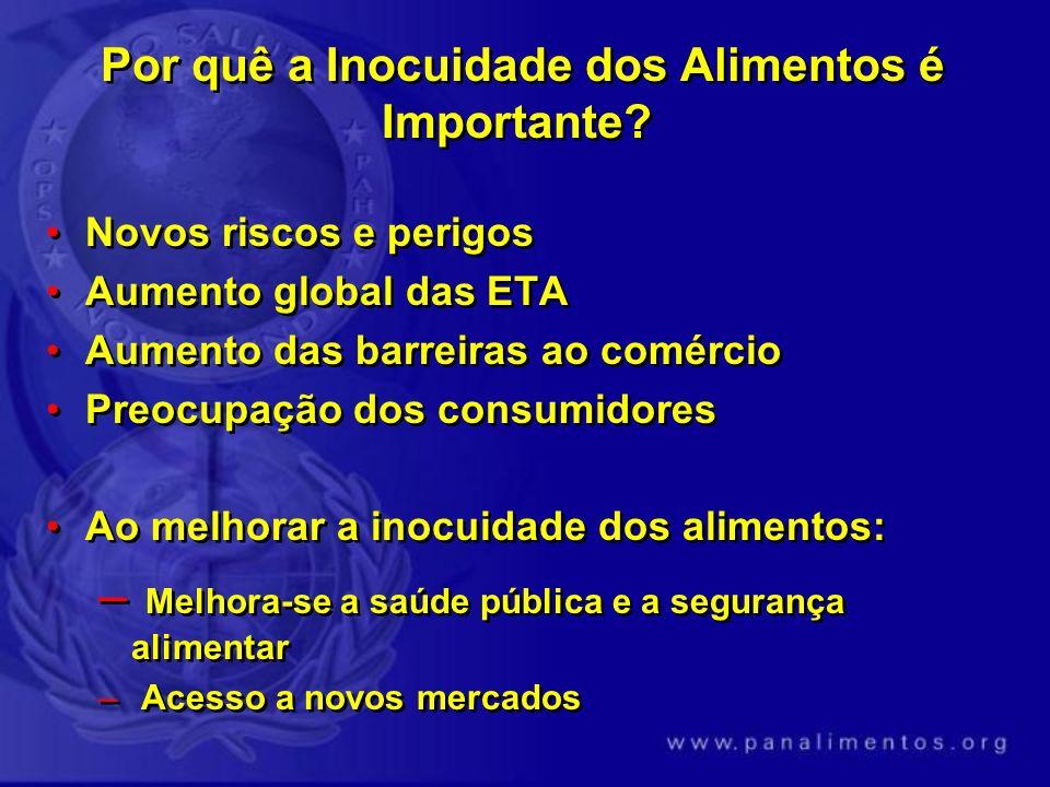 Por quê a Inocuidade dos Alimentos é Importante? Novos riscos e perigos Aumento global das ETA Aumento das barreiras ao comércio Preocupação dos consu