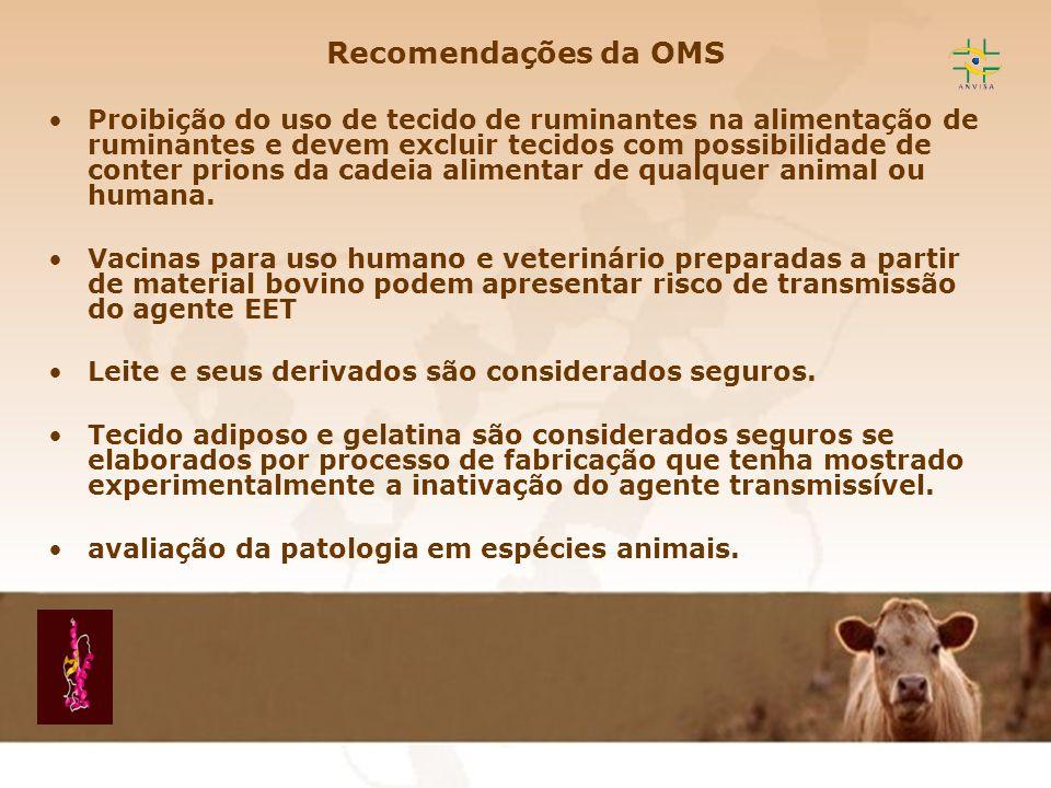 Encefalopatia Espongiforme Transmissível EET Recomendações da OMS Proibição do uso de tecido de ruminantes na alimentação de ruminantes e devem exclui