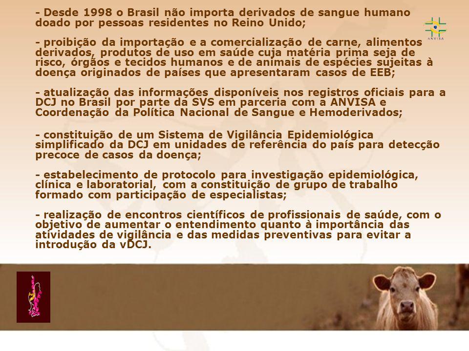 Encefalopatia Espongiforme Transmissível EET - Desde 1998 o Brasil não importa derivados de sangue humano doado por pessoas residentes no Reino Unido;