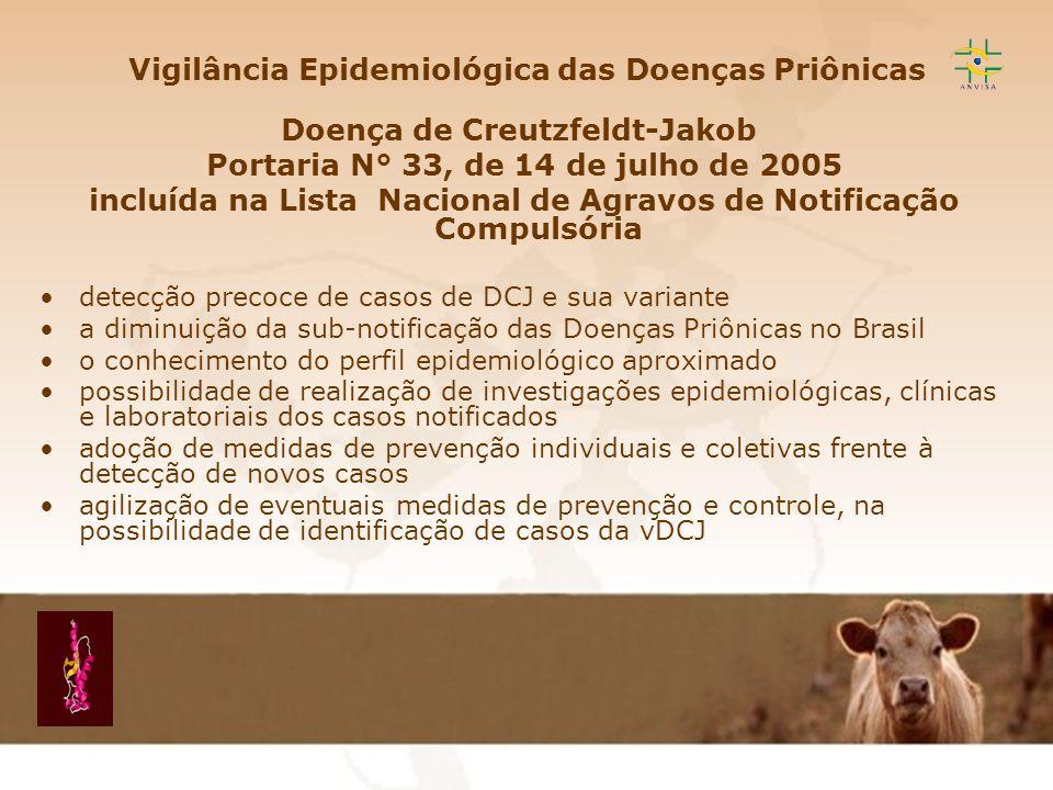 Encefalopatia Espongiforme Transmissível EET Vigilância Epidemiológica das Doenças Priônicas Doença de Creutzfeldt-Jakob Portaria N° 33, de 14 de julh