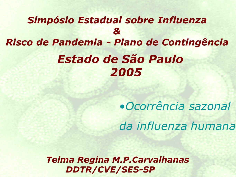 Estado de São Paulo 2005 Telma Regina M.P.Carvalhanas DDTR/CVE/SES-SP Simpósio Estadual sobre Influenza & Risco de Pandemia - Plano de Contingência Ocorrência sazonal da influenza humana