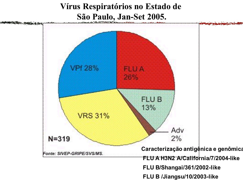 Vírus Respiratórios no Estado de São Paulo, Jan-Set 2005.