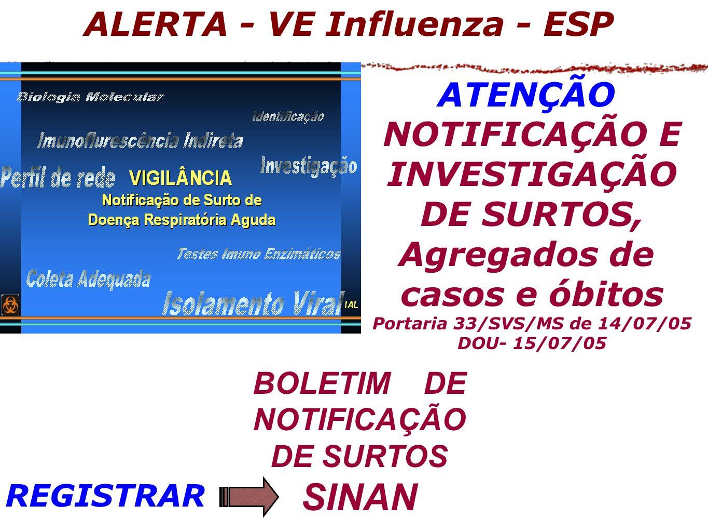 BOLETIM DE NOTIFICAÇÃO DE SURTOS SINAN ATENÇÃO NOTIFICAÇÃO E INVESTIGAÇÃO DE SURTOS, Agregados de casos e óbitos Portaria 33/SVS/MS de 14/07/05 DOU- 15/07/05 ALERTA - VE Influenza - ESP REGISTRAR