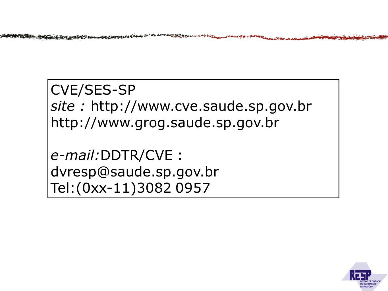 CVE/SES-SP site : http://www.cve.saude.sp.gov.br http://www.grog.saude.sp.gov.br e-mail:DDTR/CVE : dvresp@saude.sp.gov.br Tel:(0xx-11)3082 0957