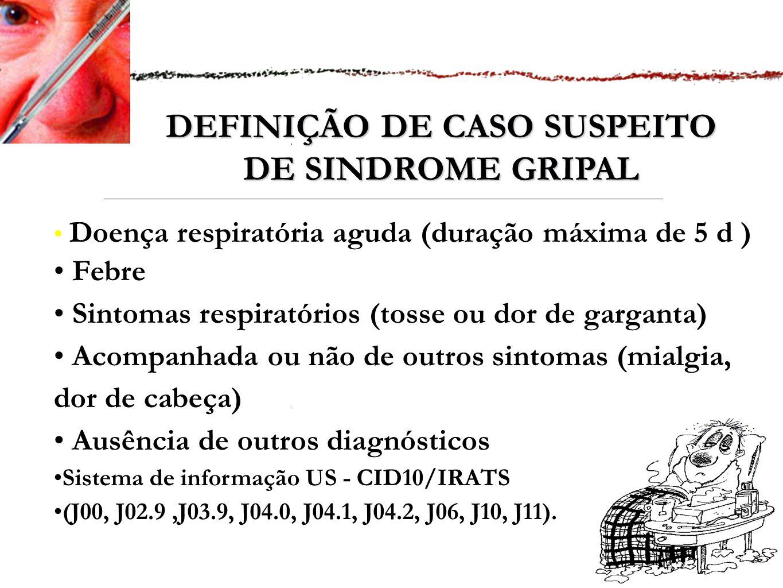 DEFINIÇÃO DE CASO SUSPEITO DE SINDROME GRIPAL Doença respiratória aguda (duração máxima de 5 d ) Febre Sintomas respiratórios (tosse ou dor de garganta) Acompanhada ou não de outros sintomas (mialgia, dor de cabeça) Ausência de outros diagnósticos Sistema de informação US - CID10/IRATS (J00, J02.9,J03.9, J04.0, J04.1, J04.2, J06, J10, J11).