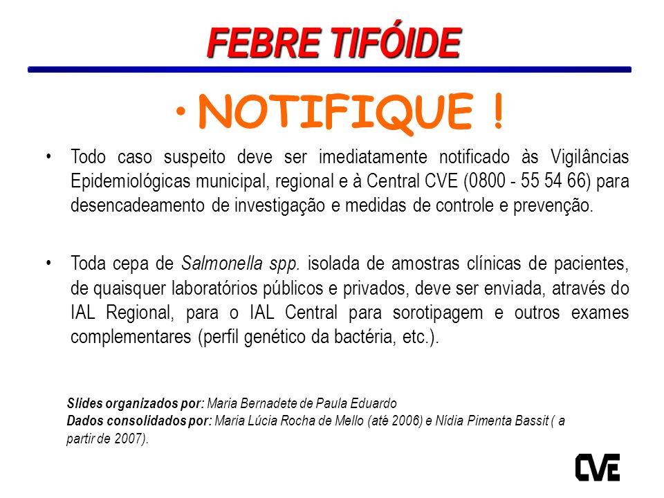 NOTIFIQUE ! Todo caso suspeito deve ser imediatamente notificado às Vigilâncias Epidemiológicas municipal, regional e à Central CVE (0800 - 55 54 66)