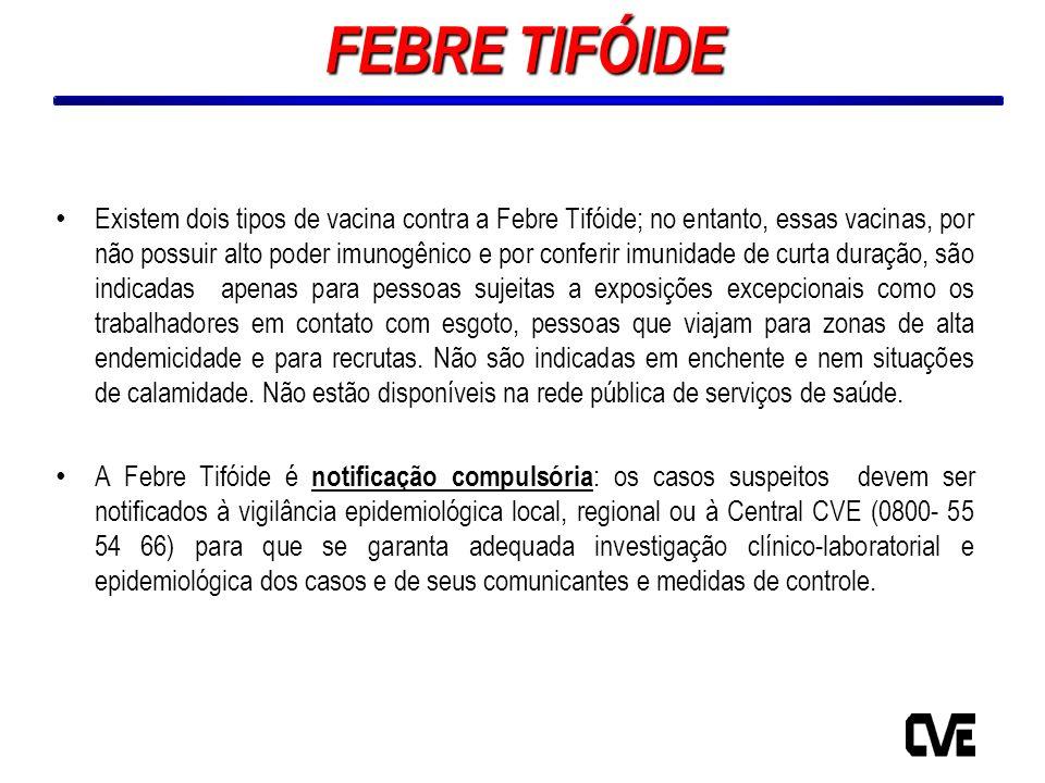 ANONº SurtosNº CasosLocal de Ocorrência e Fonte de Transmissão 200000- 200100- 200200- 200300- 200413Pessoa-a-pessoa 200500- 200615Refeitório bandejão (sem identificação de qual alimento) 200712Não identificada 200800- 200900- 201000- Total310- Tabela 6 – Febre Tifóide: Surtos de Febre Tifóide, Estado de São Paulo, 2000 a 2010* Fonte: DDTHA/CVE (*) 2010 - Dados ainda não encerrados