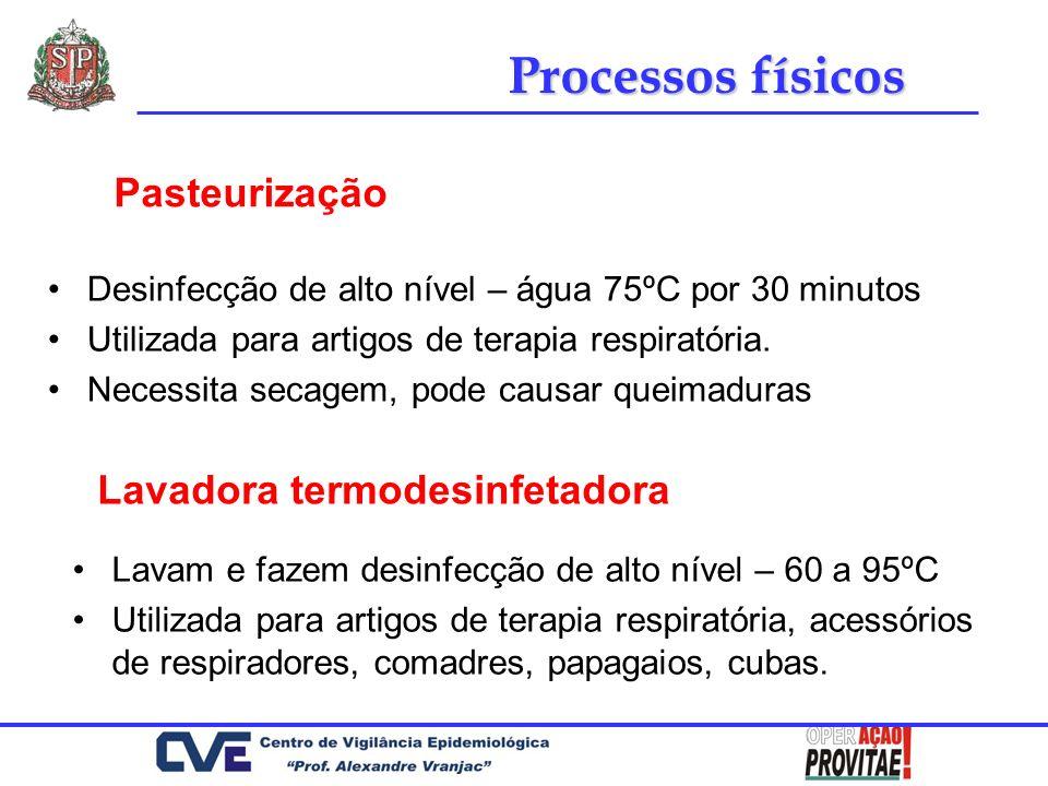Desinfecção de alto nível – água 75ºC por 30 minutos Utilizada para artigos de terapia respiratória. Necessita secagem, pode causar queimaduras Pasteu