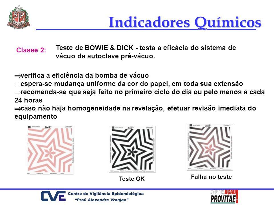Indicadores Químicos Teste de BOWIE & DICK - testa a eficácia do sistema de vácuo da autoclave pré-vácuo. Classe 2: verifica a eficiência da bomba de