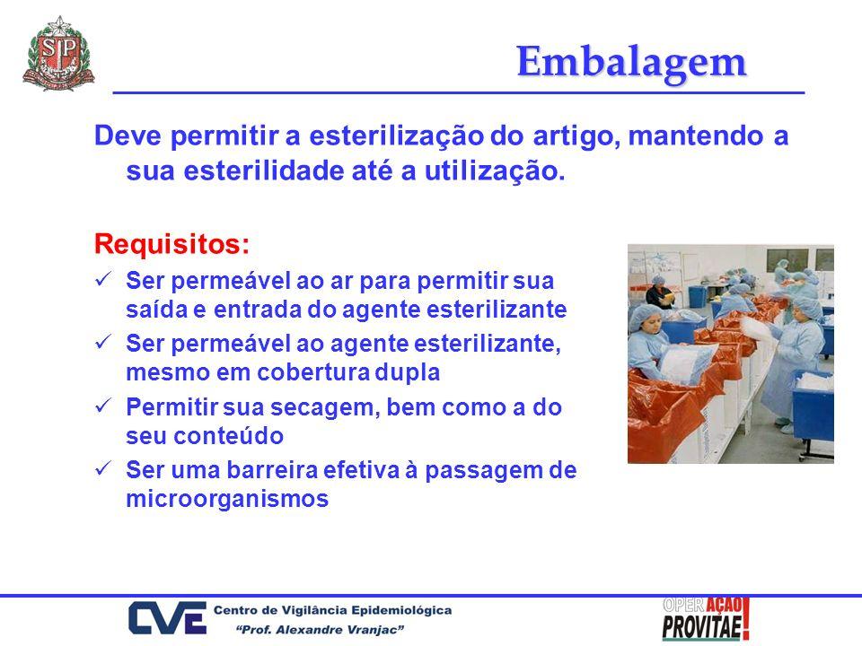 Embalagem Deve permitir a esterilização do artigo, mantendo a sua esterilidade até a utilização. Requisitos: Ser permeável ao ar para permitir sua saí
