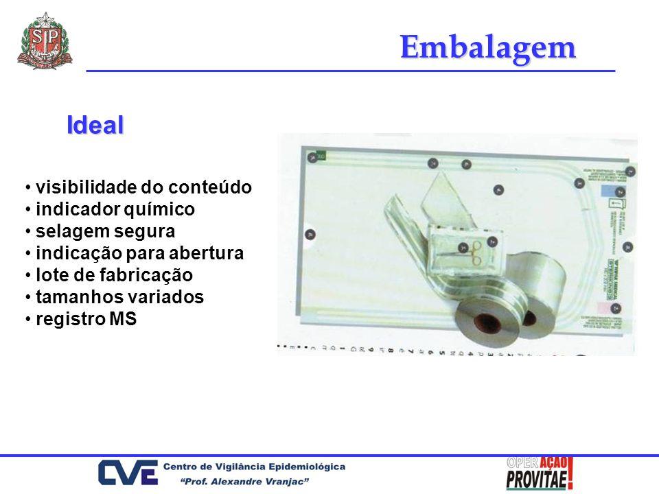 visibilidade do conteúdo indicador químico selagem segura indicação para abertura lote de fabricação tamanhos variados registro MS Embalagem Ideal