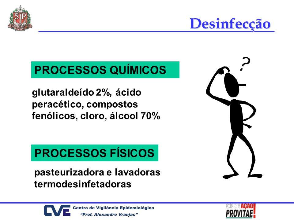 glutaraldeído 2%, ácido peracético, compostos fenólicos, cloro, álcool 70% PROCESSOS FÍSICOS Desinfecção PROCESSOS QUÍMICOS pasteurizadora e lavadoras