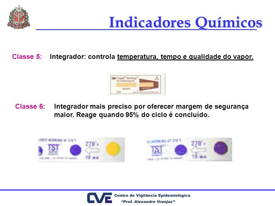 Indicadores Químicos Integrador: controla temperatura, tempo e qualidade do vapor.Classe 5: Classe 6:Integrador mais preciso por oferecer margem de se