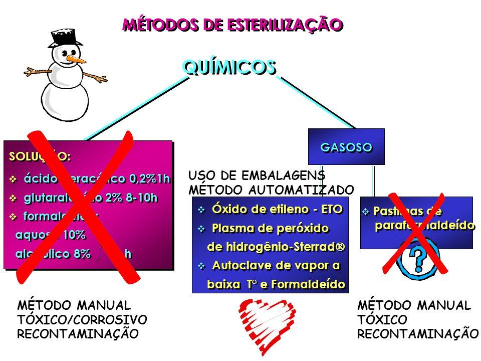 ácido peracético 0,2%1h glutaraldeído 2% 8-10h formaldeído: aquoso 10% alcoólico 8% 18 h ácido peracético 0,2%1h glutaraldeído 2% 8-10h formaldeído: a