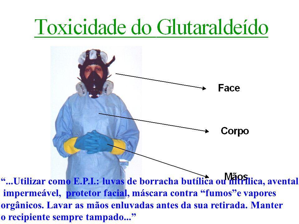 ...Utilizar como E.P.I.: luvas de borracha butílica ou nitrílica, avental impermeável, protetor facial, máscara contra fumose vapores orgânicos. Lavar