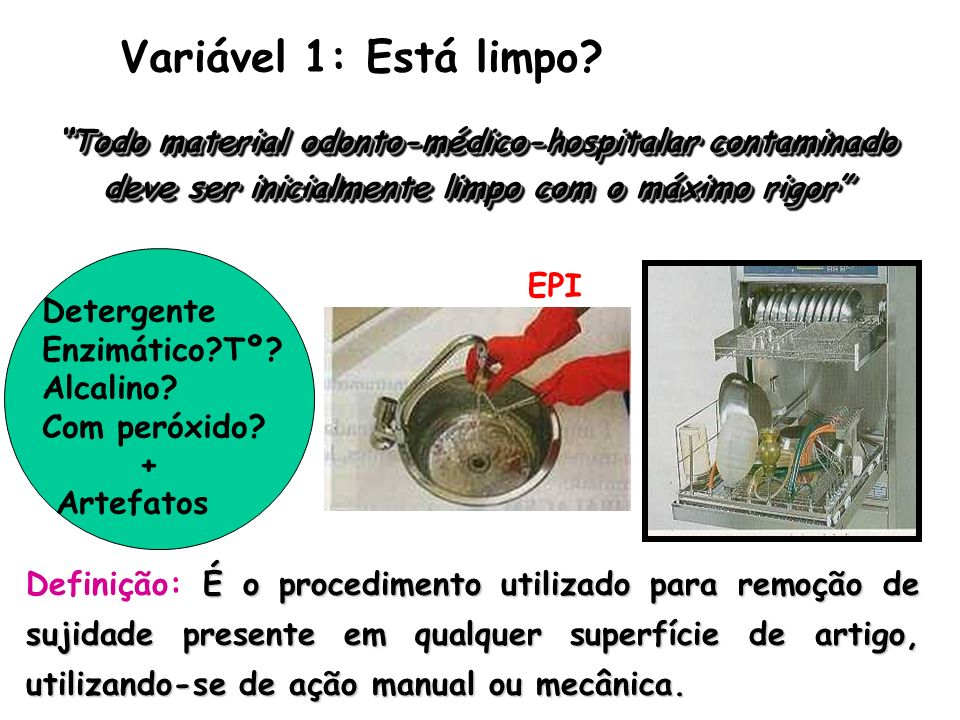 Variável 1: Está limpo? Todo material odonto-médico-hospitalar contaminado deve ser inicialmente limpo com o máximo rigor É o procedimento utilizado p