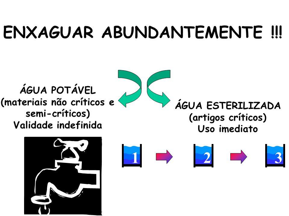 ENXAGUAR ABUNDANTEMENTE !!! ÁGUA POTÁVEL (materiais não críticos e semi-críticos) Validade indefinida ÁGUA ESTERILIZADA (artigos críticos) Uso imediat