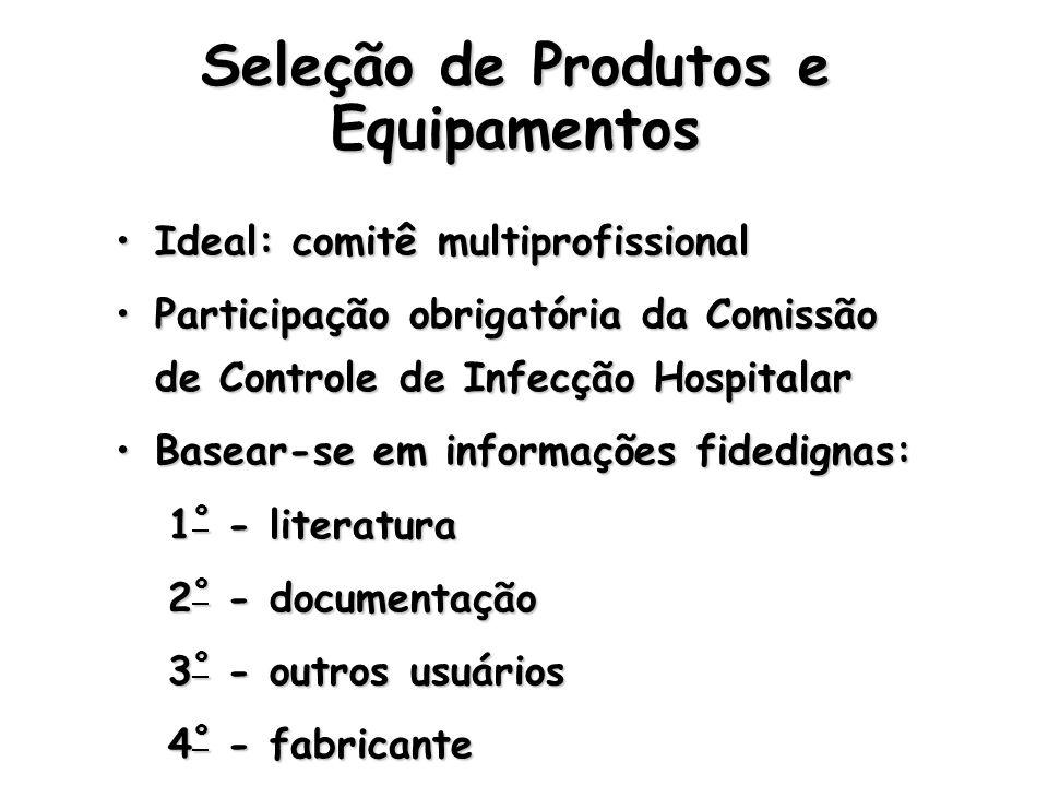 Seleção de Produtos e Equipamentos Ideal: comitê multiprofissionalIdeal: comitê multiprofissional Participação obrigatória da Comissão de Controle de