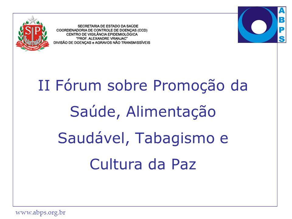 www.abps.org.br II Fórum sobre Promoção da Saúde, Alimentação Saudável, Tabagismo e Cultura da Paz