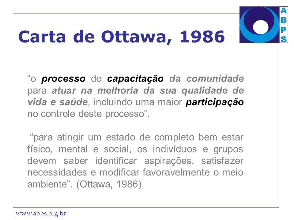 www.abps.org.br Carta de Ottawa, 1986 o processo de capacitação da comunidade para atuar na melhoria da sua qualidade de vida e saúde, incluindo uma m