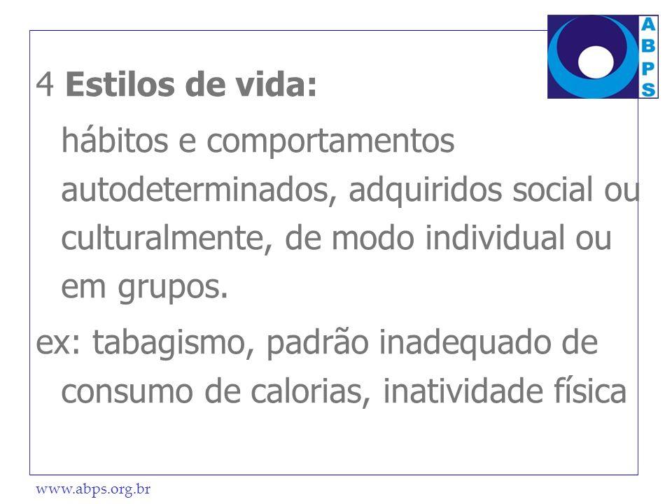 www.abps.org.br 4 Estilos de vida: hábitos e comportamentos autodeterminados, adquiridos social ou culturalmente, de modo individual ou em grupos. ex: