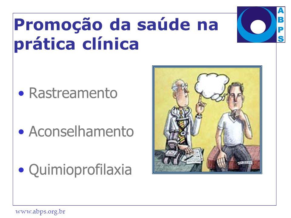 www.abps.org.br Promoção da saúde na prática clínica Rastreamento Aconselhamento Quimioprofilaxia