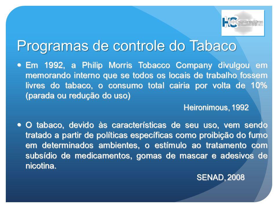 Programas de controle do Tabaco Além de reduzir ou cessar o uso de tabaco por fumantes, esses programas reduzem o uso diário de cigarros, melhoram relações entre profissionais, os riscos de doenças relacionadas e a exposição ambiental.