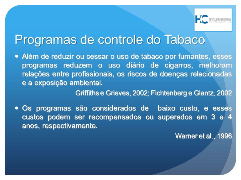 Programas de controle do Tabaco Além de reduzir ou cessar o uso de tabaco por fumantes, esses programas reduzem o uso diário de cigarros, melhoram rel